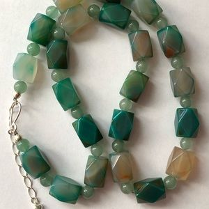 """Jay King Necklace S. Silver 24"""" & 3"""" Ext. Jade?"""